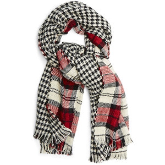 Steve Madden Reversible Plaid Blanket Wrap Scarf